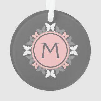 Gris blanco del rosa color de rosa del monograma