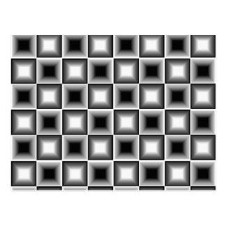 Gris blanco del tablero de ajedrez 3D del negro Tarjetas Postales