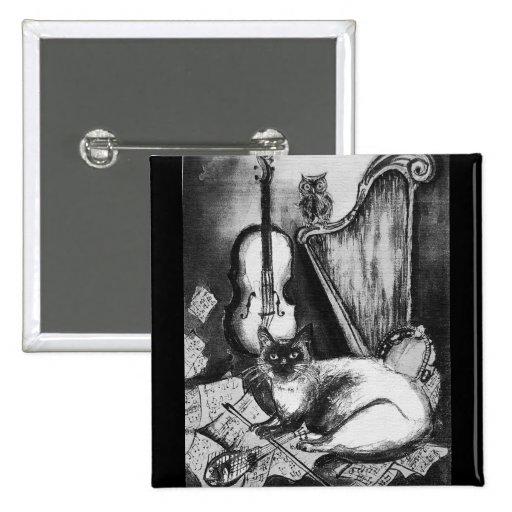 Gris blanco negro MUSICAL del CAT Y del BÚHO Pins
