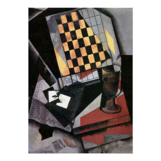 Gris - Checkerboard and Playing Cards Poster
