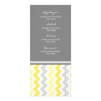 Gris Chevron del amarillo del menú del boda Diseño De Tarjeta Publicitaria