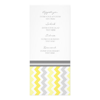 Gris Chevron del amarillo del menú del boda Lona Publicitaria