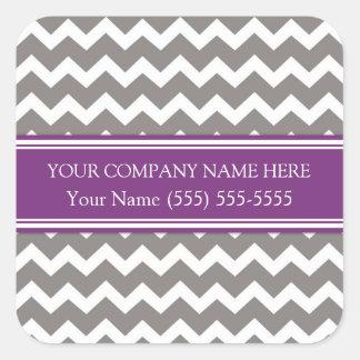 Gris Chevron del ciruelo del nombre de Business Calcomanía Cuadradas Personalizada