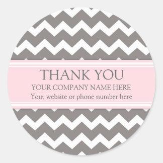 Gris Chevron del rosa del nombre de Business Thank Etiqueta Redonda