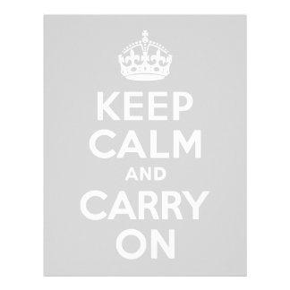 Gris claro guarde la calma y continúe membrete personalizado