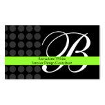 Gris con monograma moderno del negro de la cal del plantilla de tarjeta personal