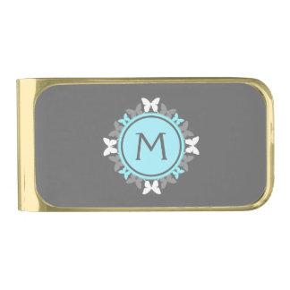Gris de azules claros blanco del monograma de la clip para billetes dorado