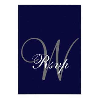 """Gris de azules marinos que casa la tarjeta de RSVP Invitación 3.5"""" X 5"""""""