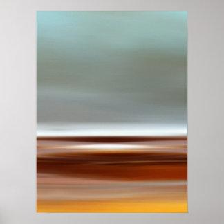 Gris de Brown azul del paisaje del cielo de la pla Póster