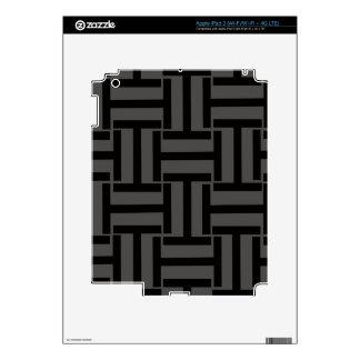 Gris de carbón de leña y armadura negra de T iPad 3 Pegatina Skin