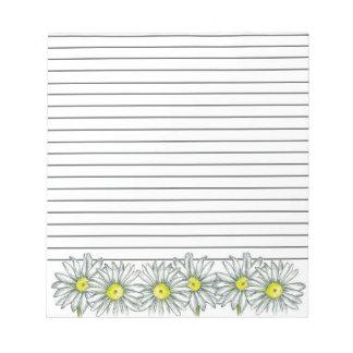 Gris de dibujo de la flor de la margarita alineado bloc de notas