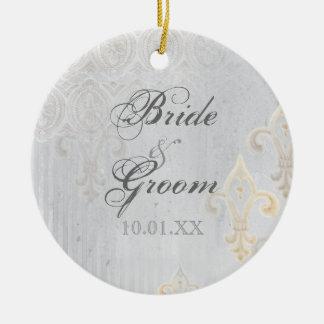 Gris de Fleur di Lys Damask 2 - ornamento del boda Ornaments Para Arbol De Navidad