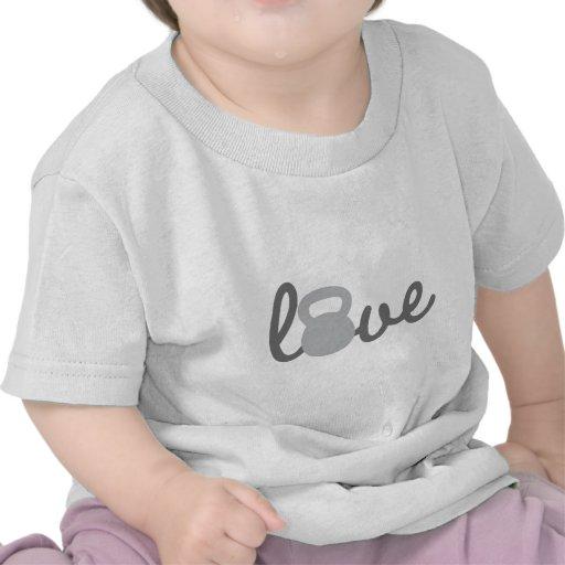 Gris de Kettlebell del amor Camiseta