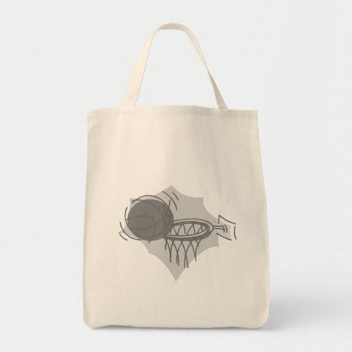gris de la bola y de la cesta bolsas lienzo