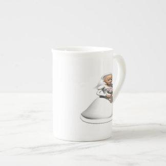 Gris de la novia taza de porcelana