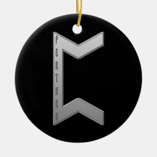 Gris de la runa de Pertho Adornos De Navidad
