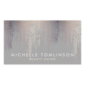 Gris de lujo del modelo de la lluvia del confeti tarjetas de visita