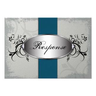 Gris de pizarra azul del trullo de la tarjeta de R Invitaciones Personales