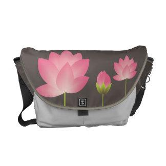 Gris de pizarra moderno de loto blanco del flor ro bolsa de mensajeria