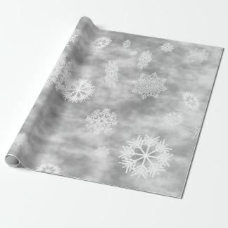 Gris de plata de la caída de los copos de nieve papel de regalo