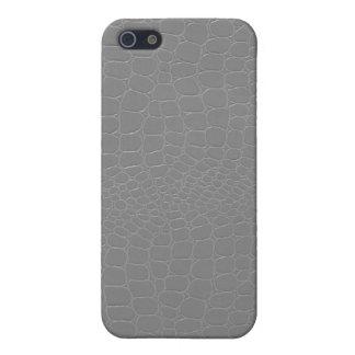 Gris de plata del cocodrilo iPhone 5 funda