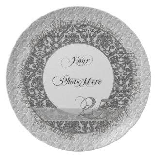 Gris de plata del damasco de la placa de la foto d platos