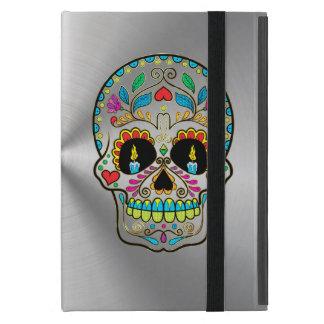 Gris de plata metalizada con el cráneo colorido iPad mini protector