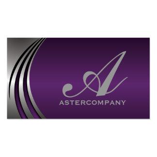 Gris de plata púrpura, monograma llamativo del tarjetas de visita
