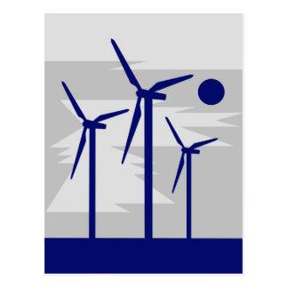 Gris de Surise del molino de viento - energía eóli Postales