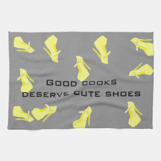 Gris del amarillo del zapato del tacón alto toallas de mano