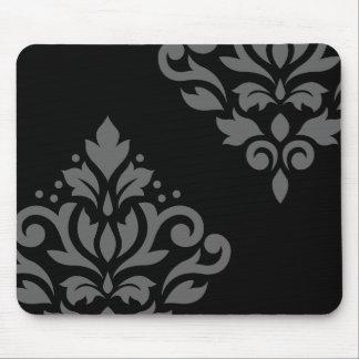 Gris del arte I del damasco de la voluta en negro Alfombrillas De Raton
