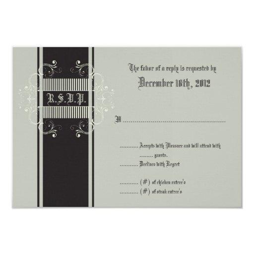 """gris del asunto de lazo negro de la tarjeta de invitación 3.5"""" x 5"""""""