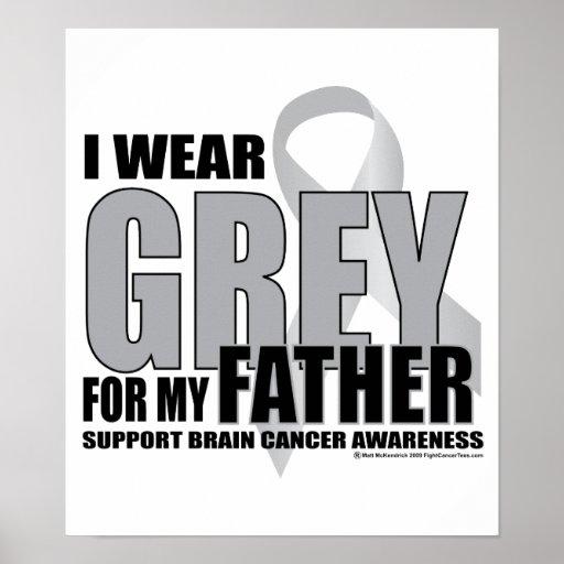 Gris del cáncer de cerebro para el padre póster