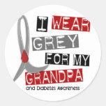 Gris del desgaste de la diabetes I para mi abuelo Etiqueta Redonda