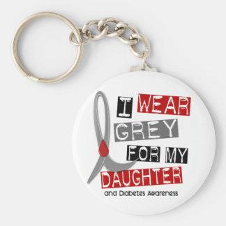 Gris del desgaste de la diabetes I para mi hija 37 Llavero Redondo Tipo Pin