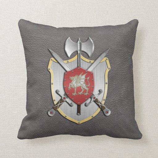 Gris del dragón del escudo de la batalla almohadas