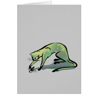 Gris del gato y del ratón tarjeta de felicitación