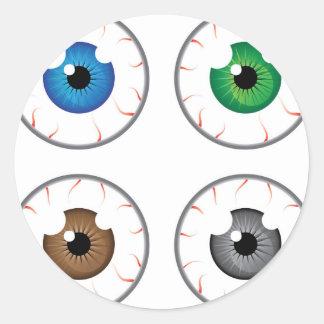 Gris del marrón del verde azul de la bola del ojo pegatina redonda