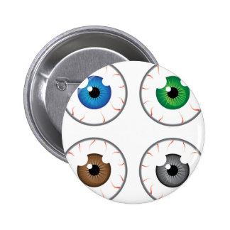 Gris del marrón del verde azul de la bola del ojo pin redondo de 2 pulgadas