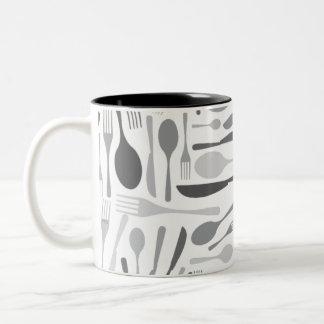 Gris del modelo del cocinero de la cocina de la taza de dos tonos