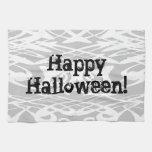 Gris del modelo ondulado de Halloween, blanco y ne Toalla De Cocina