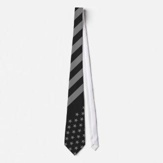Gris del negro de la bandera americana corbata personalizada