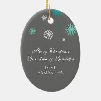 Gris del ornamento de los abuelos de las Felices N Ornamentos De Navidad