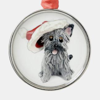Gris del ornamento del navidad de Terrier de mojón Ornamento Para Arbol De Navidad