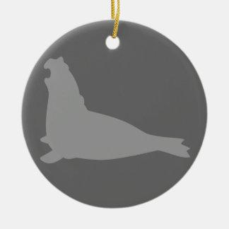 Gris del ornamento del sello de elefante ornaments para arbol de navidad