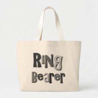 Gris del portador de anillo bolsa tela grande