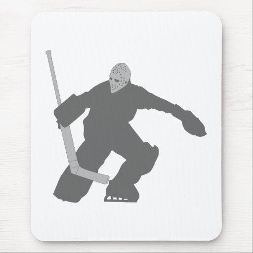 Gris del portero del hockey sobre hielo tapete de raton