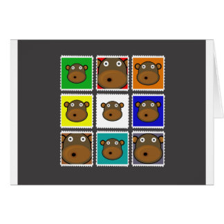 Gris del sello del mono tarjeta de felicitación