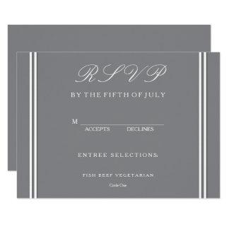 """Gris del tiburón con el detalle blanco del boda invitación 4.5"""" x 6.25"""""""