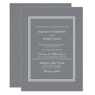 """Gris del tiburón con el detalle blanco del boda invitación 5.5"""" x 7.5"""""""